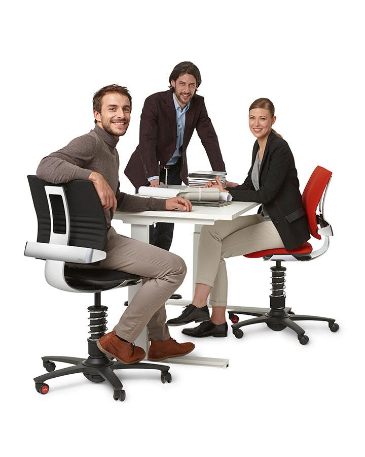 chaise de bureau ergonomique 3 dee grise et chrome. Black Bedroom Furniture Sets. Home Design Ideas